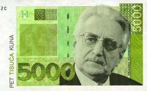 Franjo Tuđman na novčanica od 5000 tisuća